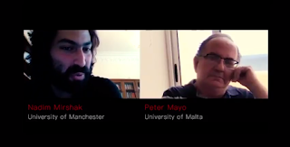 A screenshot of Nadim Mirshak and Peter Mayo from the video version of the interview.