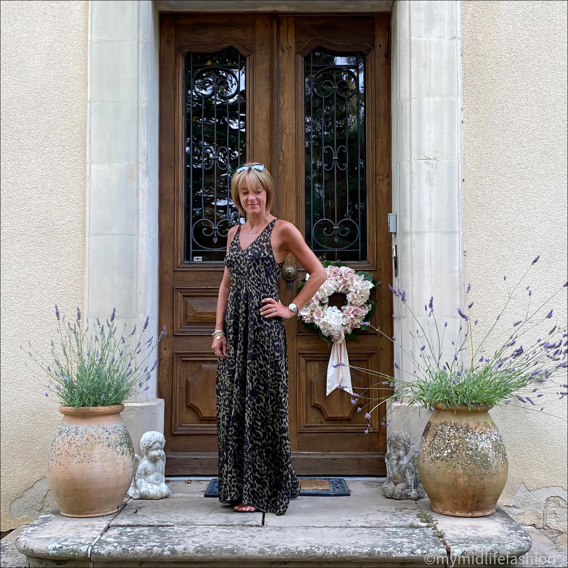 my midlife fashion, Isabel Marant Etoile silk leopard print maxi dress, havaianas black slim flip flops