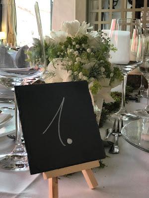 Tischnummern Schiefertafeln, 1, Hochzeit in Apfelgrün und Weiß im Riessersee Hotel Garmisch-Partenkirchen, Hochzeitshotel in Bayern, heiraten in den Bergen am See
