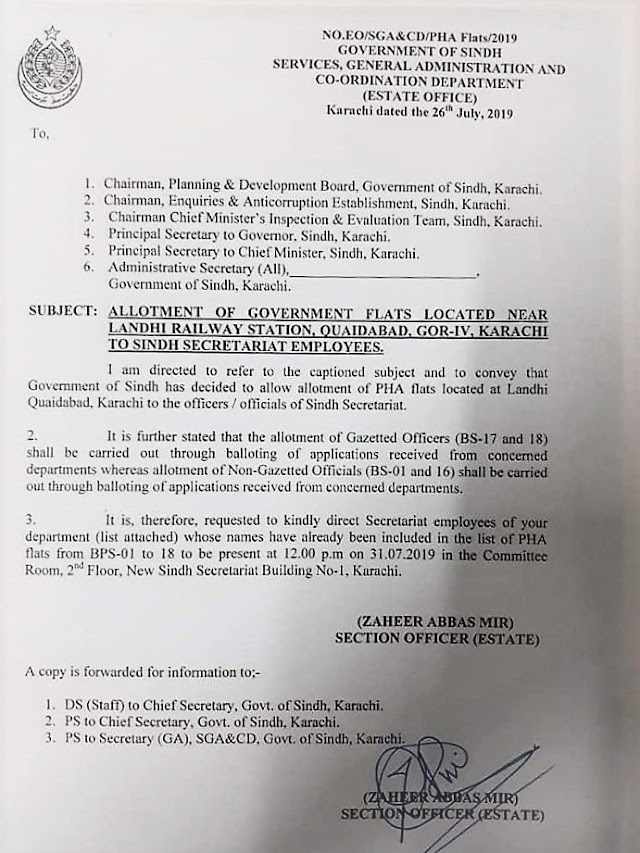 ALLOTMENT OF GOVERNMENT FLATS TO SINDH SECRETARIAT EMPLOYEES