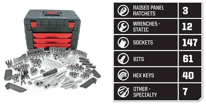 SEARS - Craftsman 270 pc. Mechanics Tool Set with Three-Drawer Chest $139.99