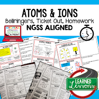 Atoms Worksheets, Earth Science NGSS Bellringers, Science Warm Ups, Science Homework, Science Ticket Out