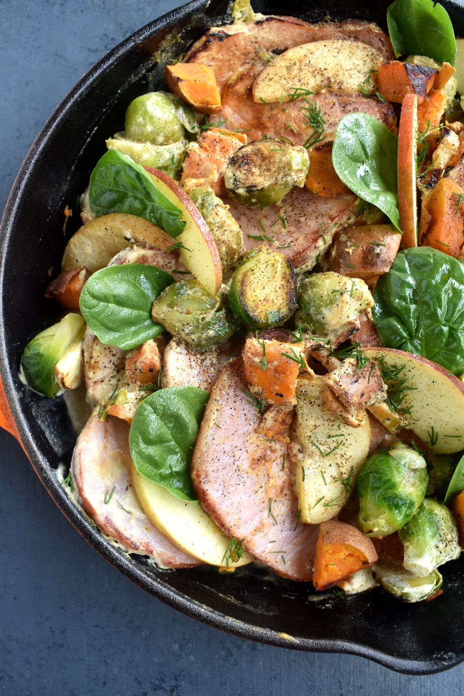 brussels sprouts, sweet potatoes and apples pork skillet