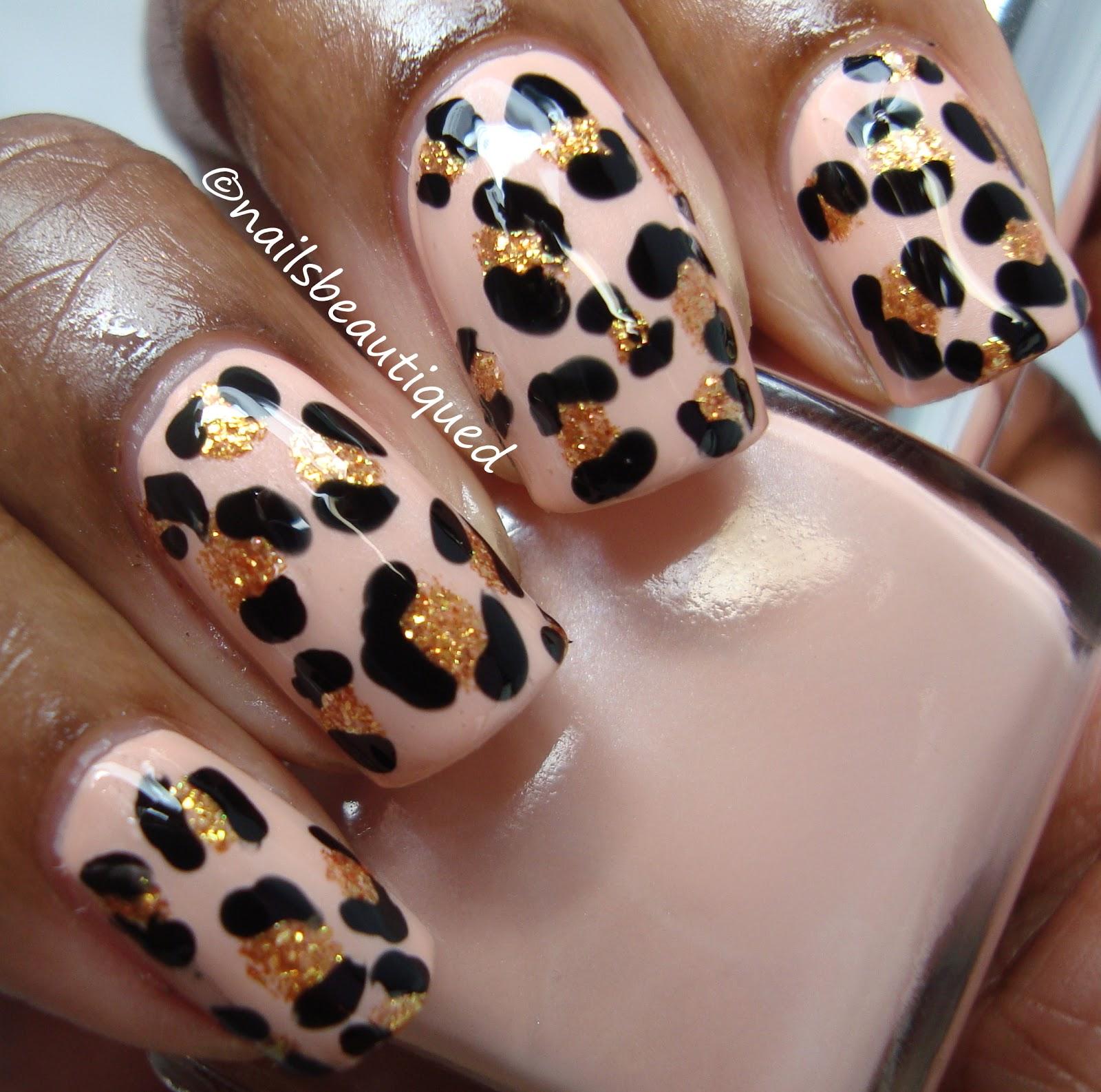 leopard print nail design unbitten polish pink wednesday ...