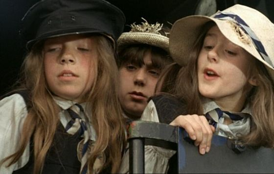 Younger St. Trinian's girls on the footplate