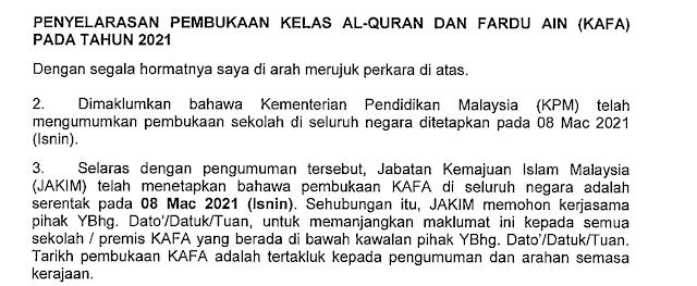 Pembukaan Kelas KAFA 8 Mac 2021 Serentak Seluruh Malaysia