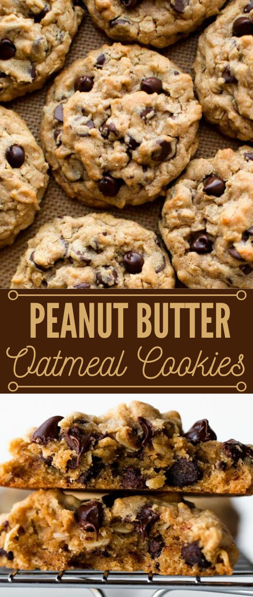 Big Fat Peanut Butter Oatmeal Chocolate Chip Cookies #desserts #cakes #chocolate #peanut #butter