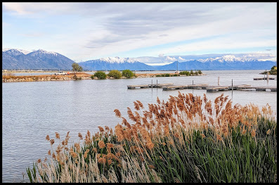 Utah Lake with Cascade and Nebo Mountains in the Background.