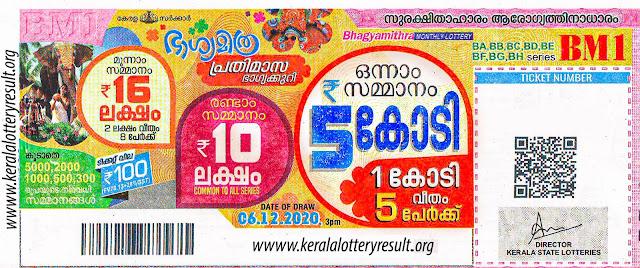 06.12.2020 Live Bhagyamitra Lottery  Result BM - 1 2020