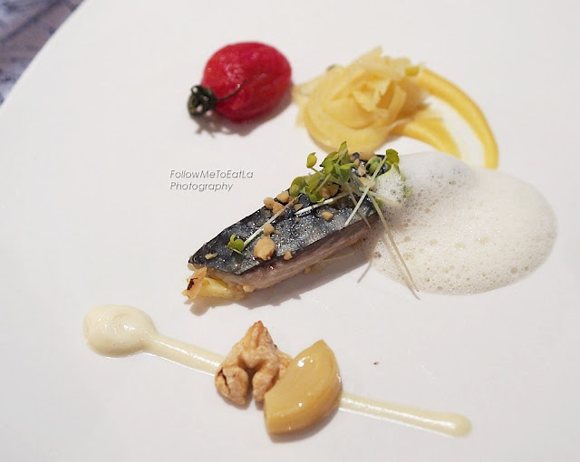 Poached Baby Mackerel, Chick Pea Puree, Smoked Garlic Cream & Walnut