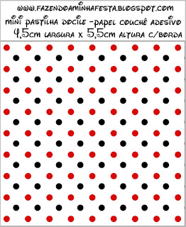 Red Polka Dots in Black and White Free Printable  Candy Bar Labels.