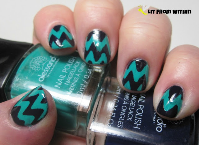 chevron nail art with Alessandro Wild Safari and Blue Nuit.