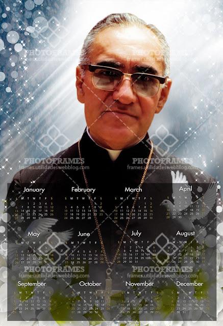 Calendario de pared de San Romero para el año 2019