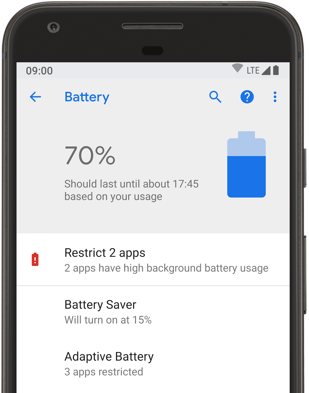 Battery restrictions in Android P.