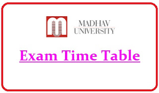 Madhav University Exam Date Sheet 2020