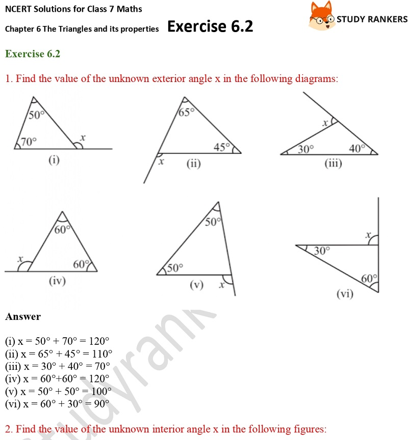 NCERT Solutions for Class 7 Maths Ch 6 The Triangles and its properties Exercise 6.2 1