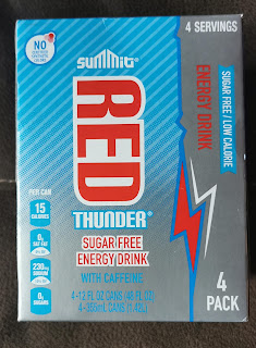 Box of Summit Red Thunder Sugar Free Energy Drink showing it's now in 12 oz. cans instead of the original 8 oz.