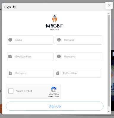 cara daftar di MYGBIT, cloud mining eth mygbit
