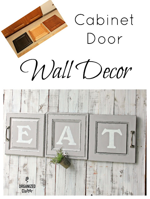 Farmhouse Style Kitchen Cabinet Door Decor #stenciling #upcycling #repurposing #farmhousestyle