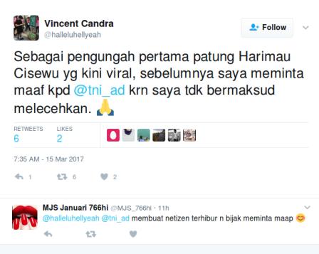 Pengunggah Macan Lucu Cisewu Minta Maaf Pada TNI AD