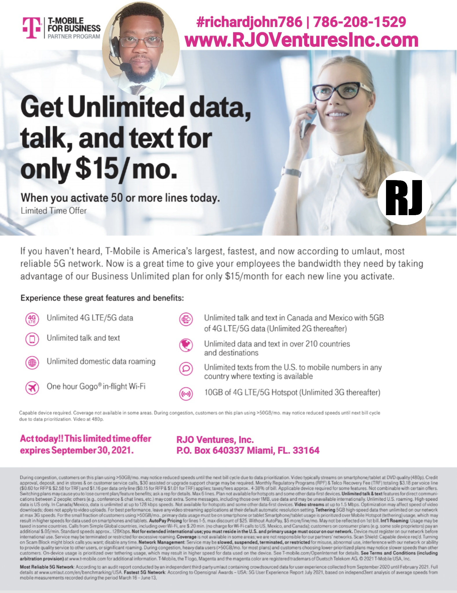 T-Mobile: Get unlimited data, talk and text for only $15 per month. [RJOVenturesInc.com]