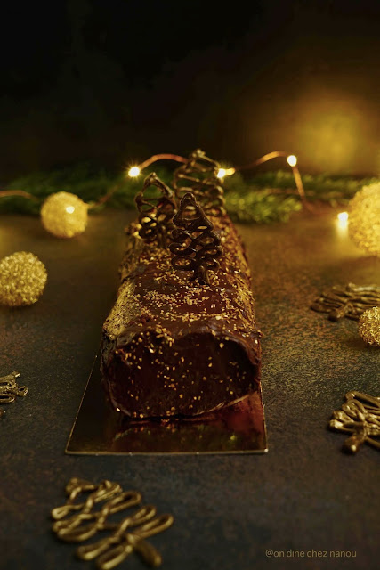 chocolat noir , ganache , biscuit moelleux , dessert de Noël , confiture de clémentines