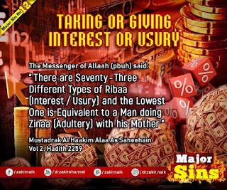 MAJOR SIN. 12.3. TAKING OR GIVING INTEREST OR USURY | Kabira Gunah