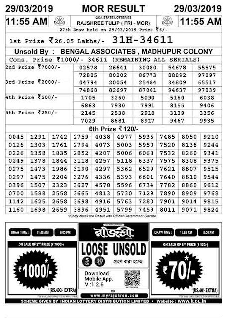Goa State Lottery - Today's Result Rajshree Lottery - Goa