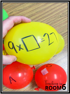 Writing multiplication and division number sentences with missing pieces for students to solve in Apple Orchard Math