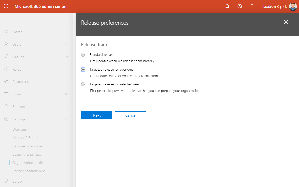 set release preference office 365