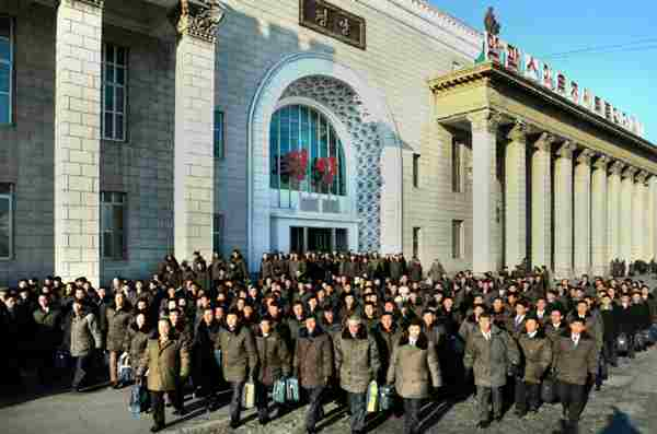 Arrival of delegates to the Fourth Conference of Cell Secretaries of the WPK at the Pyongyang Railway Station, January 26, 2013