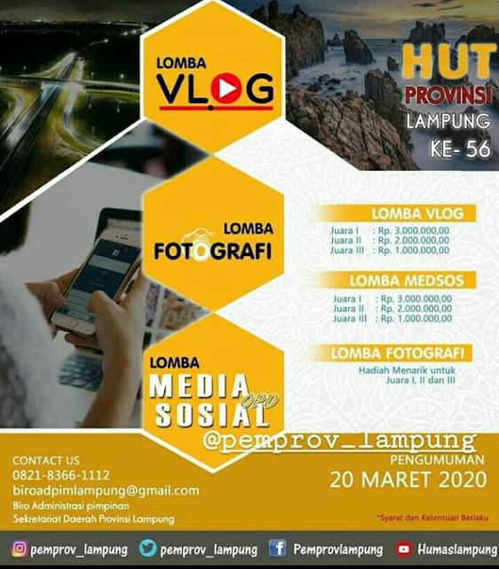 Pengumuman: Biro Adpim Pemprov Lampung Gelar Lomba Fotografi, Vlog dan Konten Medsos