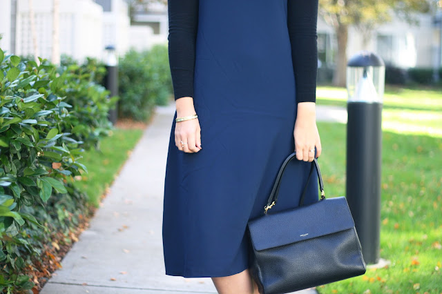 Black and navy outfit, ysl bag, fashion blogger