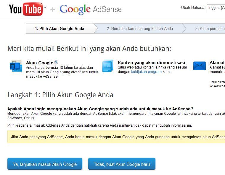 Cara Daftar Google Adsense via Youtube - SEOMOB