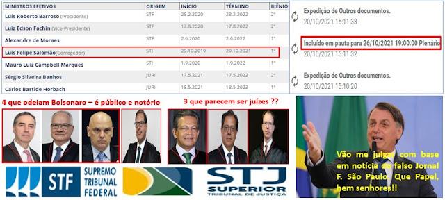 BOMBA!! 🧨No jogo bruto contra Bolsonaro Ministro do TSE marca julgamento para terça-feira (26). O mandato do ministro termina na sexta-feira (29). O blog expôe as armações e PF inocenta Bolsonaro
