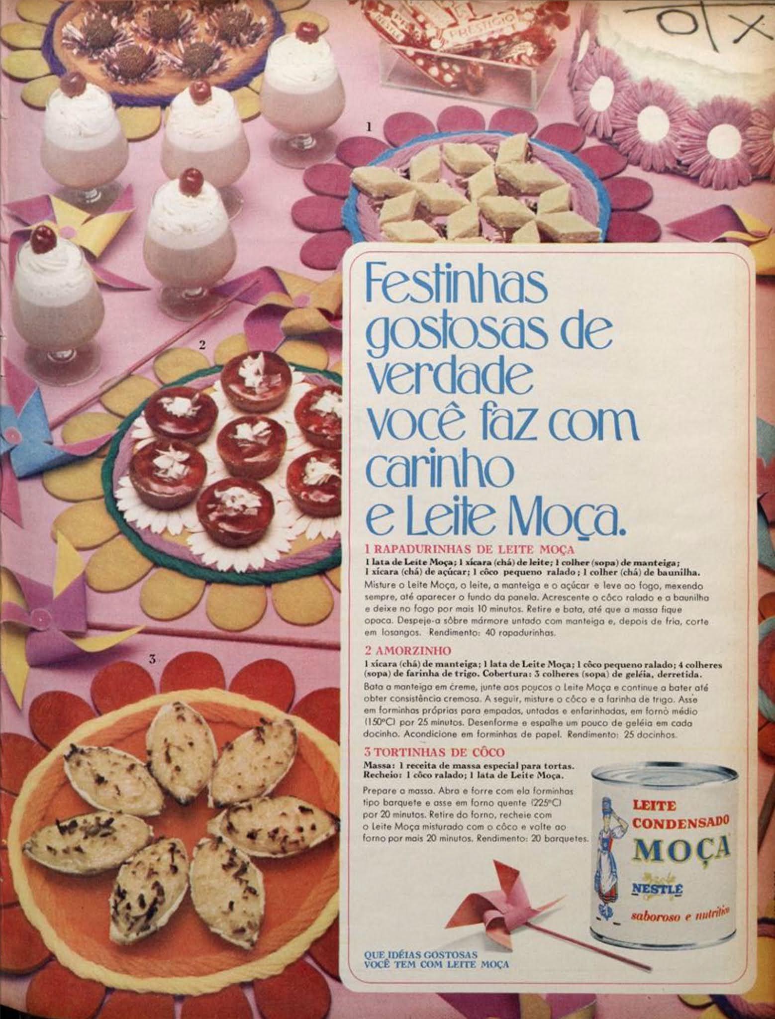 Propaganda antiga da Nestlé promovendo o Leite Moça em 1969