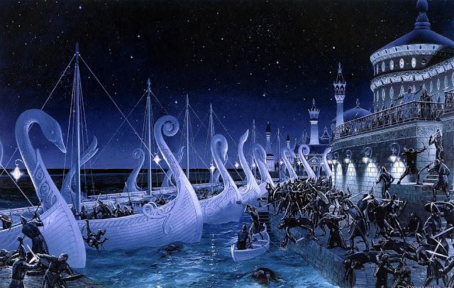 Η Αδερφοκτόνος Σφαγή από το Silmarillion του J.R.R. Tolkien, σε πίνακα του Ted Nasmith