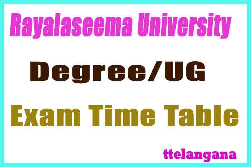 Rayalaseema University UG Time Table