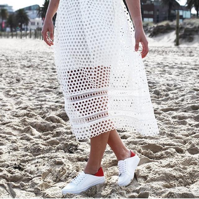 See Want Shop Self-Portrait Sheer White Midi Dress