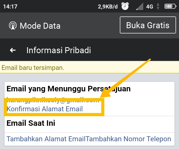 cara mengganti email facebook di iphone