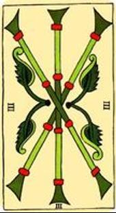 Tarot de Marsella: Tres de Bastos