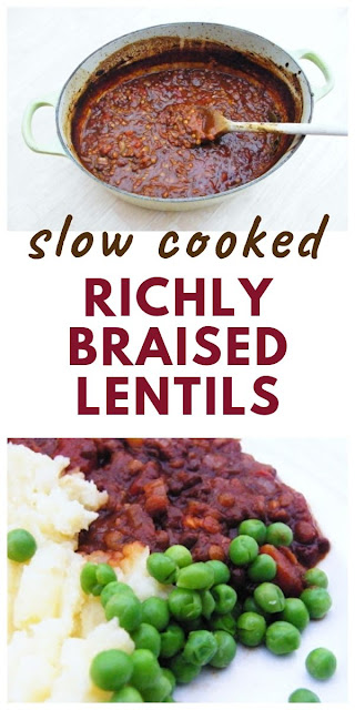 Richly Braised Lentils - slow braised lentils cooked with tomatoes, red wine and bay leaves. The best lentils you will ever taste. The perfect stew for a family casserole. #braisedlentils #lentils #slowcookedlentils #bestlentilrecipes #bestlentils #frenchlentils #puylentils #veganstews #vegancasserole #veganlentilrecipe