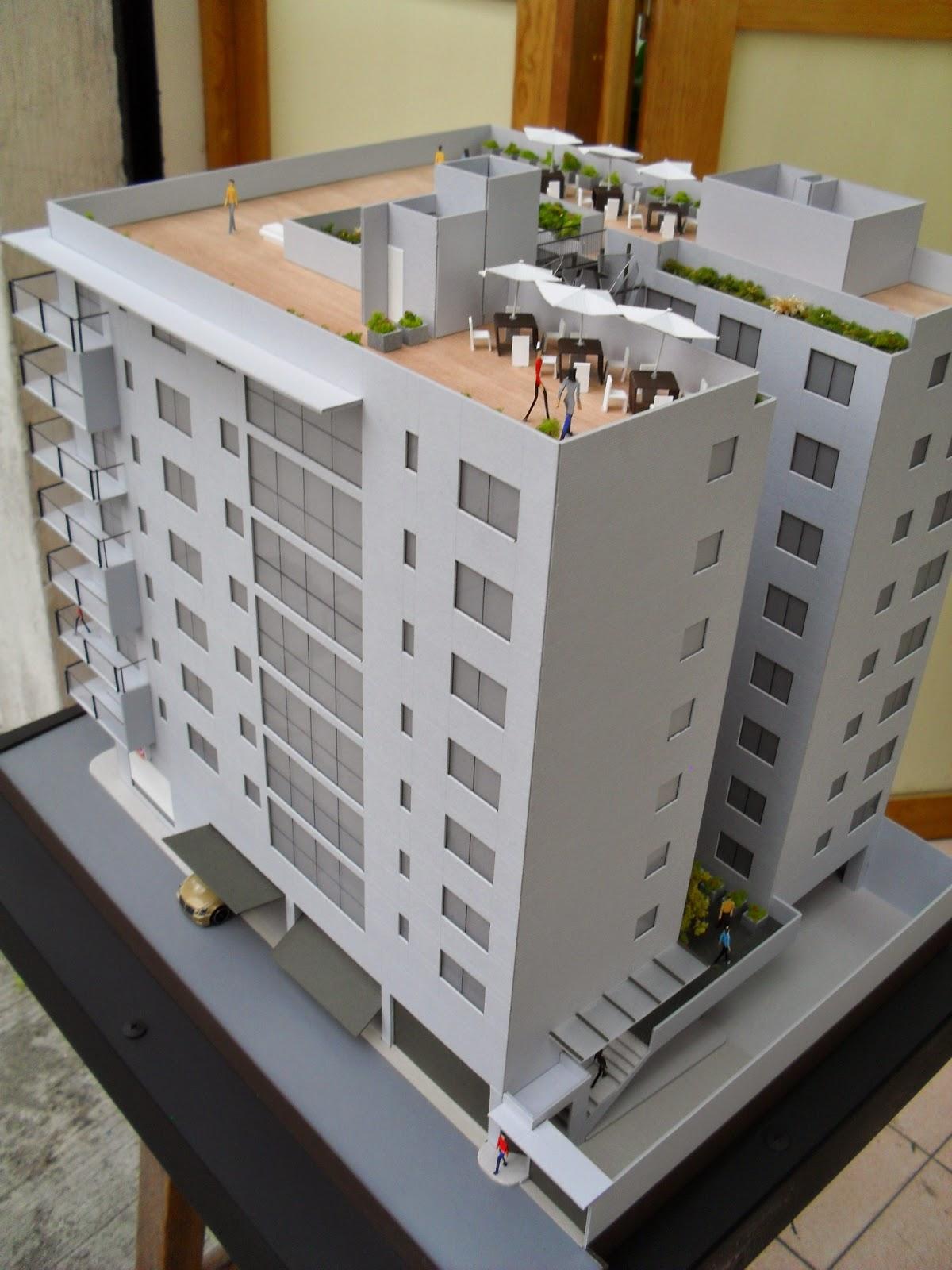 Maqueta de edificio de departamentos for Edificio de departamentos planos