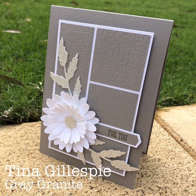 scissorspapercard, Stampin' Up!, Colour Creations, Daisy Punches, Well Said, Poppy Moments Dies, Subtle 3DEF, Glimmer Paper