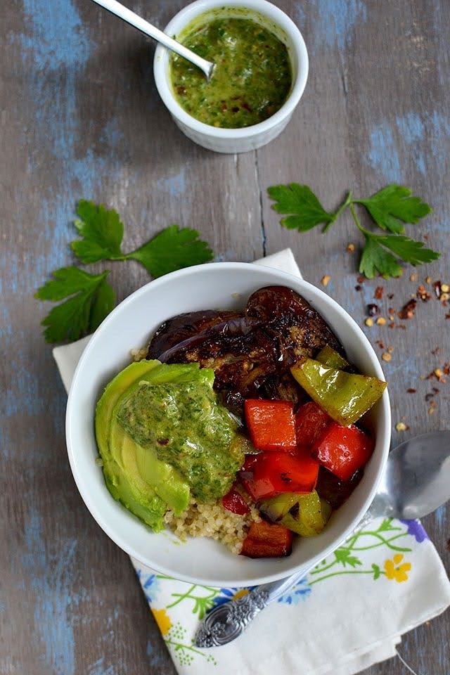 Chimichurri sauce in vegetarian dihes