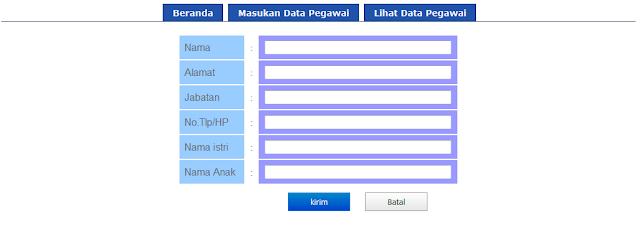 tampilan halaman input data pegawai