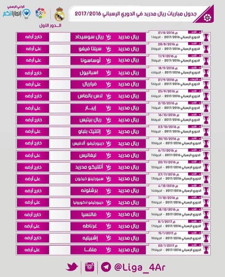 جدول مباريات ريال مدريد لموسم 2016 2017 الدور الأول الدوري