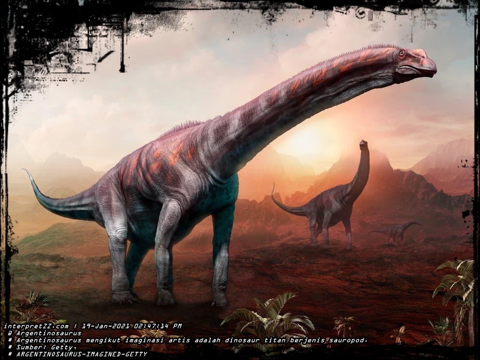 gambar dinosaur titan Argentinosaurus mengikut imaginasi pelukis.