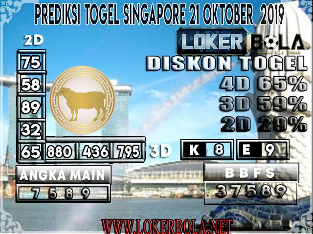 PREDIKSI TOGEL SINGAPORE LOKERBOLA  21 OKTOBER 2019