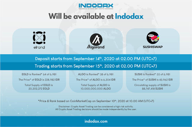 INDODAX Akan listing Aset Kripto Baru  EGLD, ALGO and SUSHI 14 September 2020